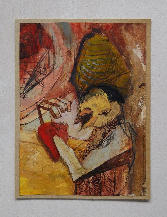 """""""s/ título""""  Mista s/ papel (acrílica e guache) - 1986  15X11 cm"""
