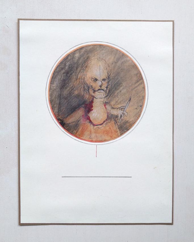 """""""s/título""""  Mista s/ papel (guache, acrílica, carvão e colagem) - 1976 - 2004  17X17,5 cm"""
