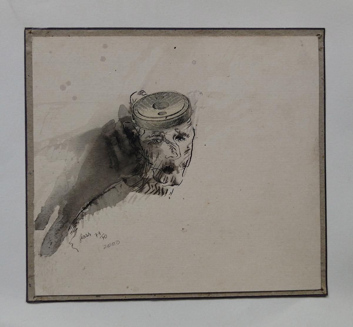 """""""O louco de Guainases"""" Mista s/papel (acrílica e colagem) - 1979-2000 16X17,5 cm"""