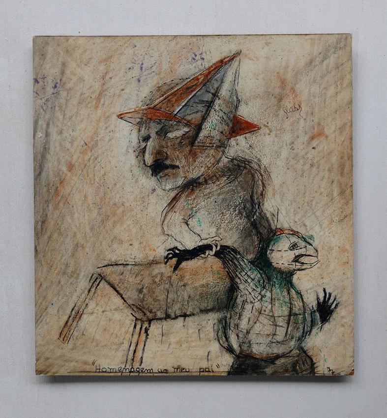 Homenagem ao meu pai Mista s/ papel (terra, carvão e acrílica) -1977 23X21,5 cm