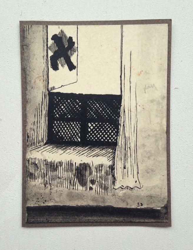 """""""s/ título""""  Mista s/ papel (nanquim e guache) - 1983  13X9,5 cm"""