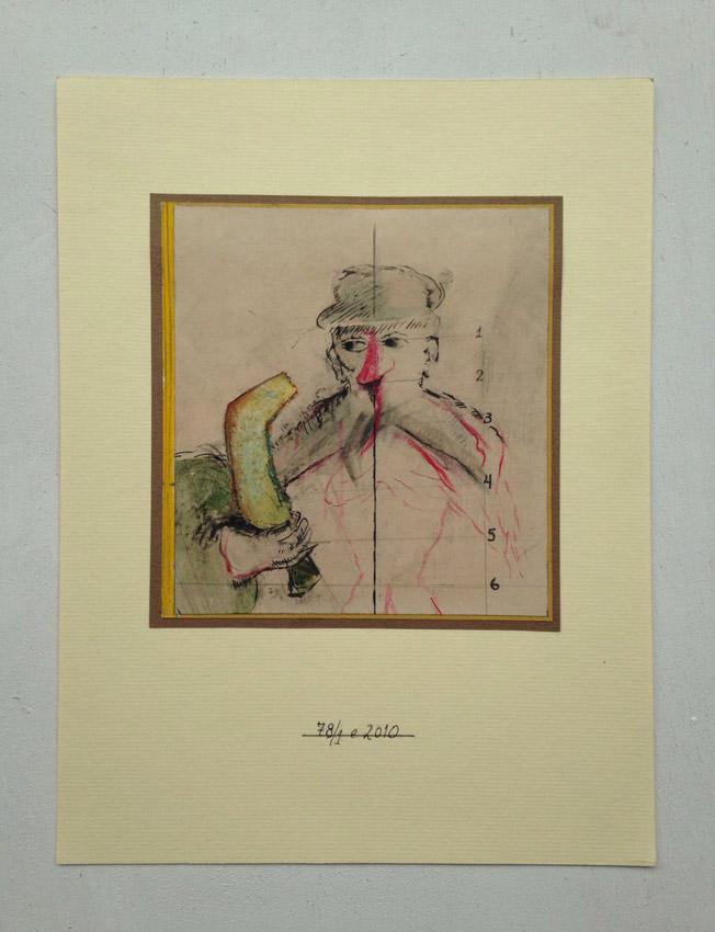 """""""s/título""""  Mista s/ papel (nanquim, giz de cera, acrílica e colagem) -1978-2010 15,5X14,5"""