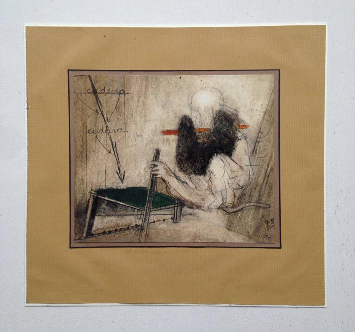 """""""s/ título""""  Mista s/ papel (terra, grafite, carvão e acrílica) - 1978-2005 19X17,5 cm"""