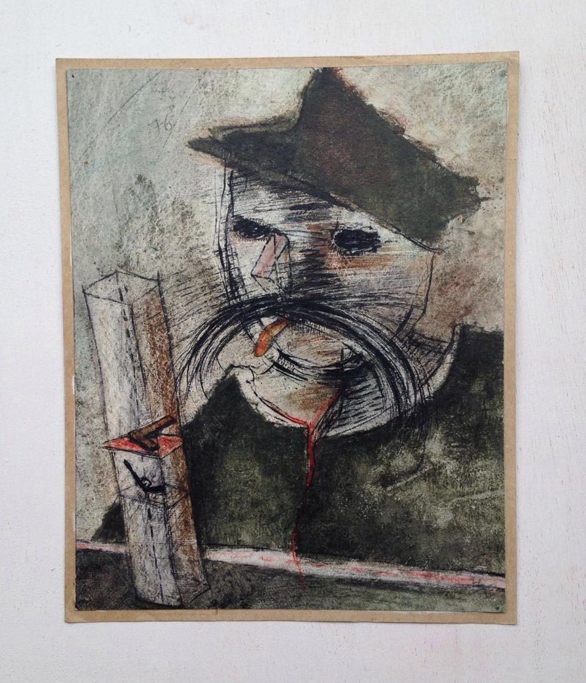 """""""s/ título"""" Mista s/ papel (acrílica, carvão e giz de cera) - 1976 29X23 cm"""