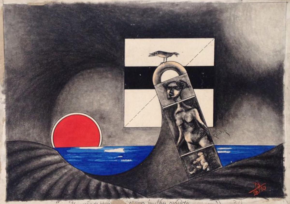 """""""s/ título""""  Mista s/ papel (carvão, nanquim e ecoline) - 1973  21X30 cm"""