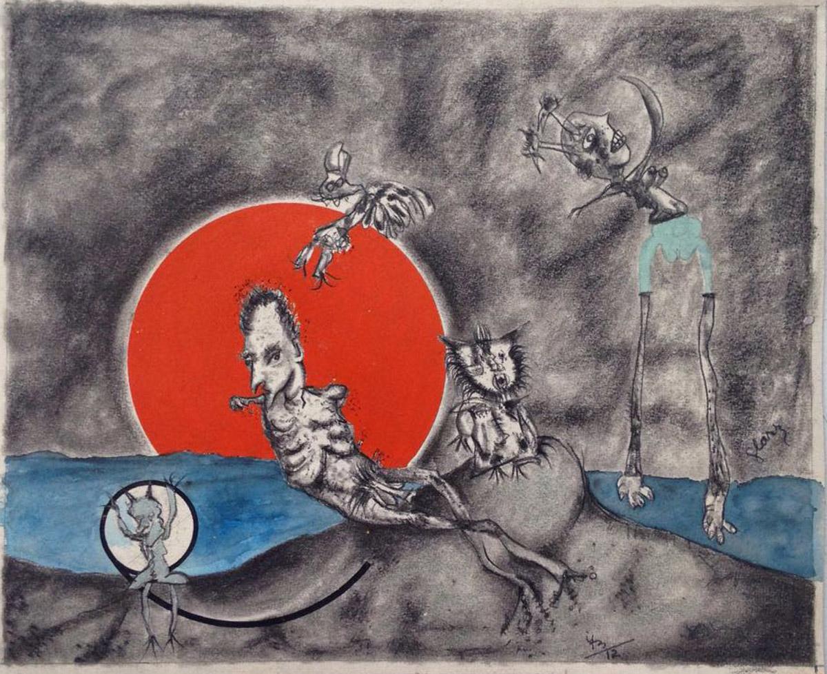 """s/ título""  Mista s/ papel (guache, nanquim, carvão e ecoline) – 1973  27X33 cm"