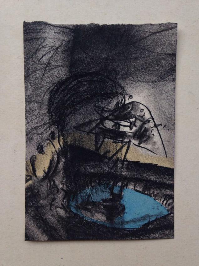 """""""s/ título"""" Mista s/ papel (carvão e ecoline) - 1973 13,5X9,5 cm"""