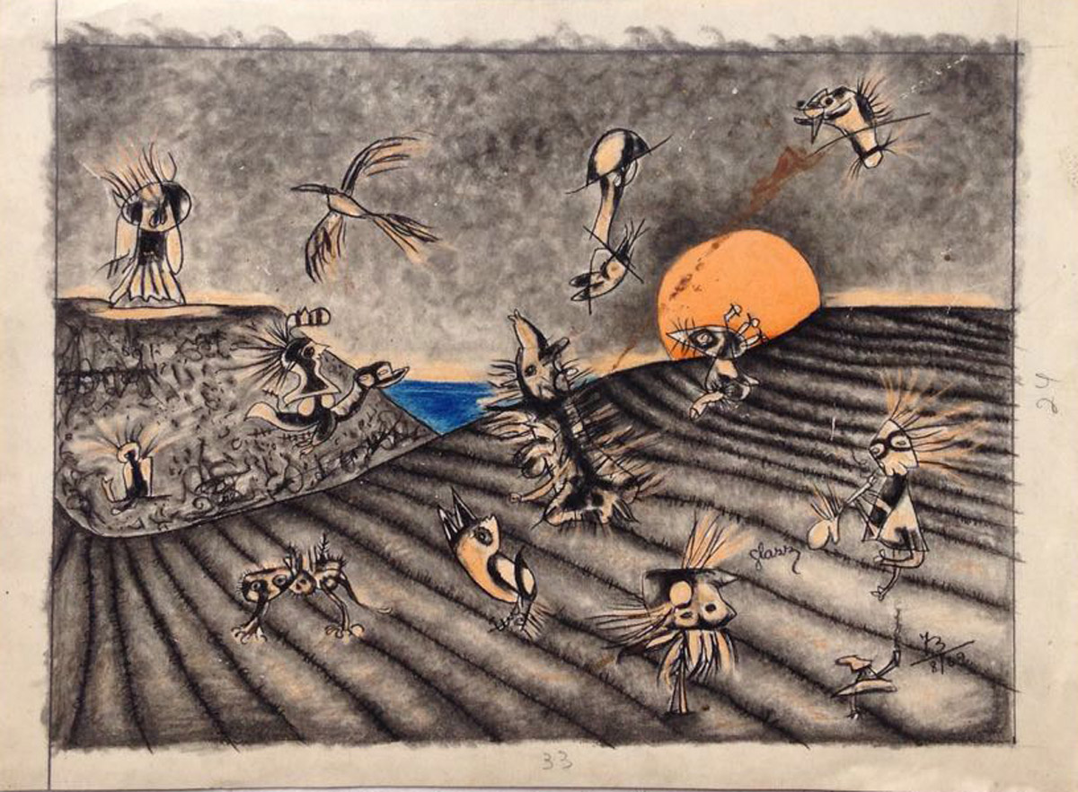 """s/ título"" Mista s/ papel (carvão, terra e ecoline) - 1973  24X33 cm"