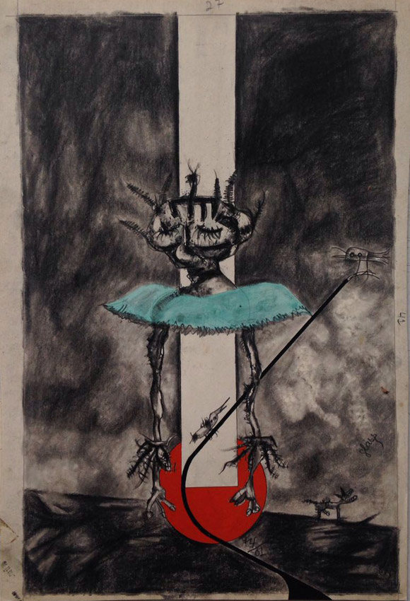 """s/ título"" Mista s/ papel (guache, ecoline e carvão) - 1974 40X26 cm"