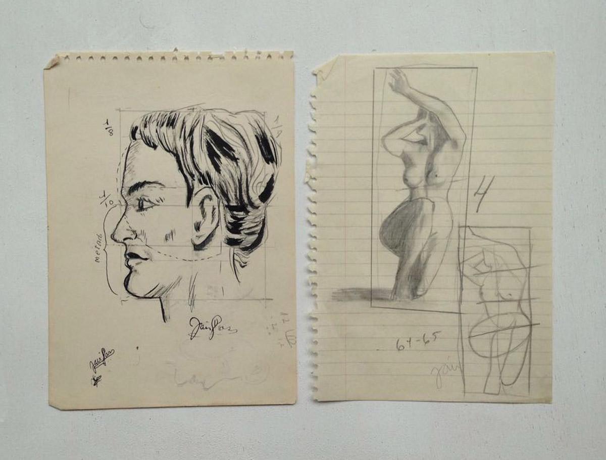 """""""A arte de desenhar a mulher - Ed. de ouro - Cópia"""" Nanquim e grafite s/papel - 1964-1965"""