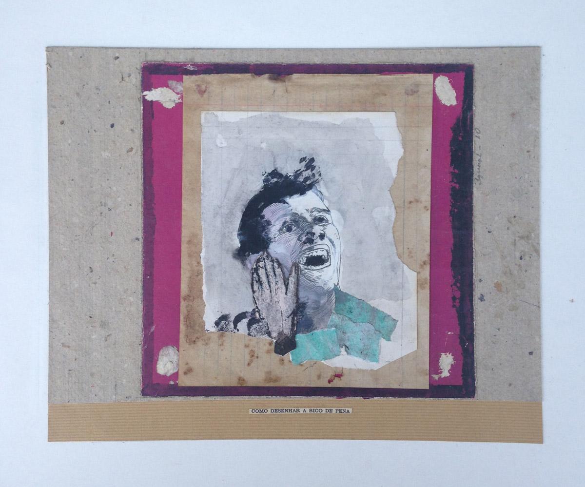 """""""Como desenhar a bico de pena""""  Mista s/ papel (colagem e acrílica) - 2010 19X24 cm"""