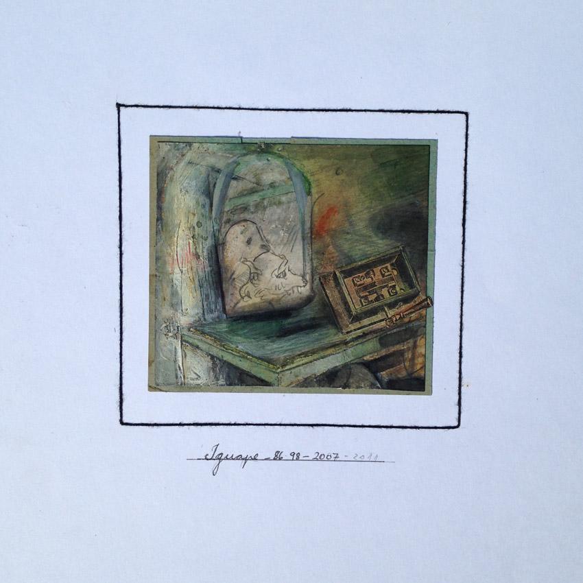 """s/ título"" Mista s/ papel (acrílica, terra e colagem) - 1998-2007-2011 9X10 cm"