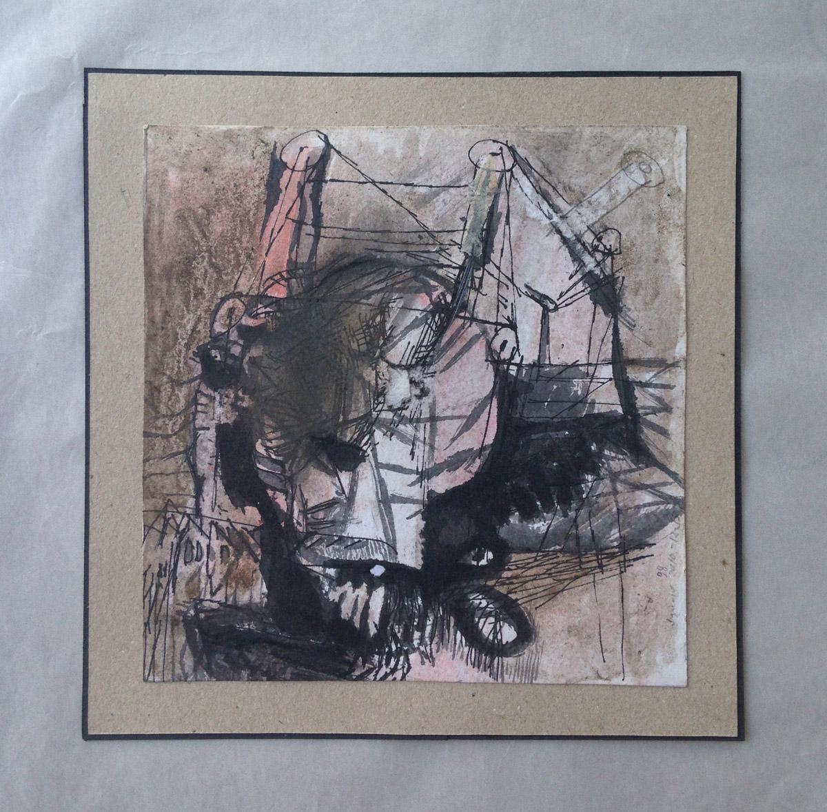 """""""s/ título"""" Mista s/ papel (acrílica e terra) - 1998-2010-2012 18X18 cm"""