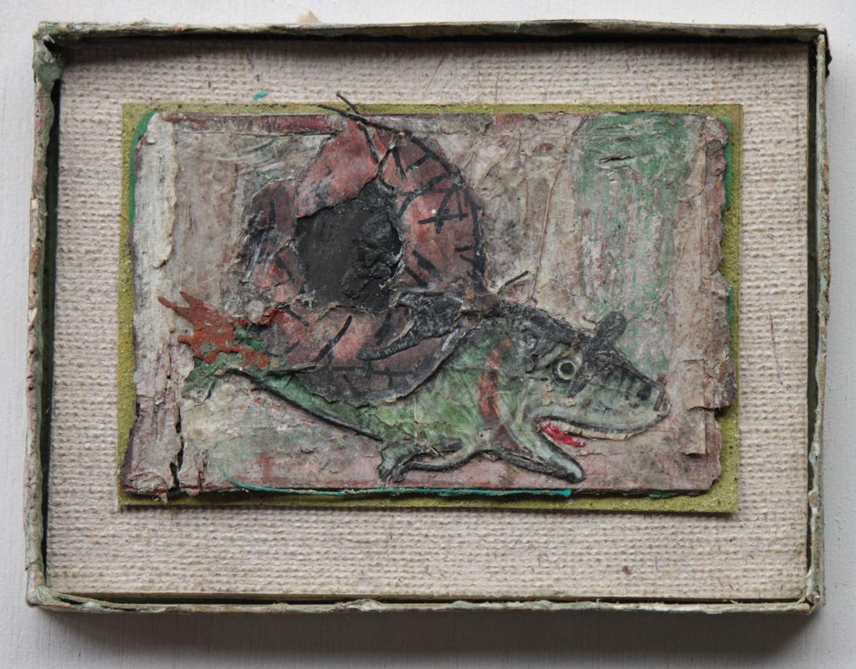 """""""Manjuba"""" Mista s/ papel (acrílica, terra e colagem) - 2008-2014 11X15 cm"""