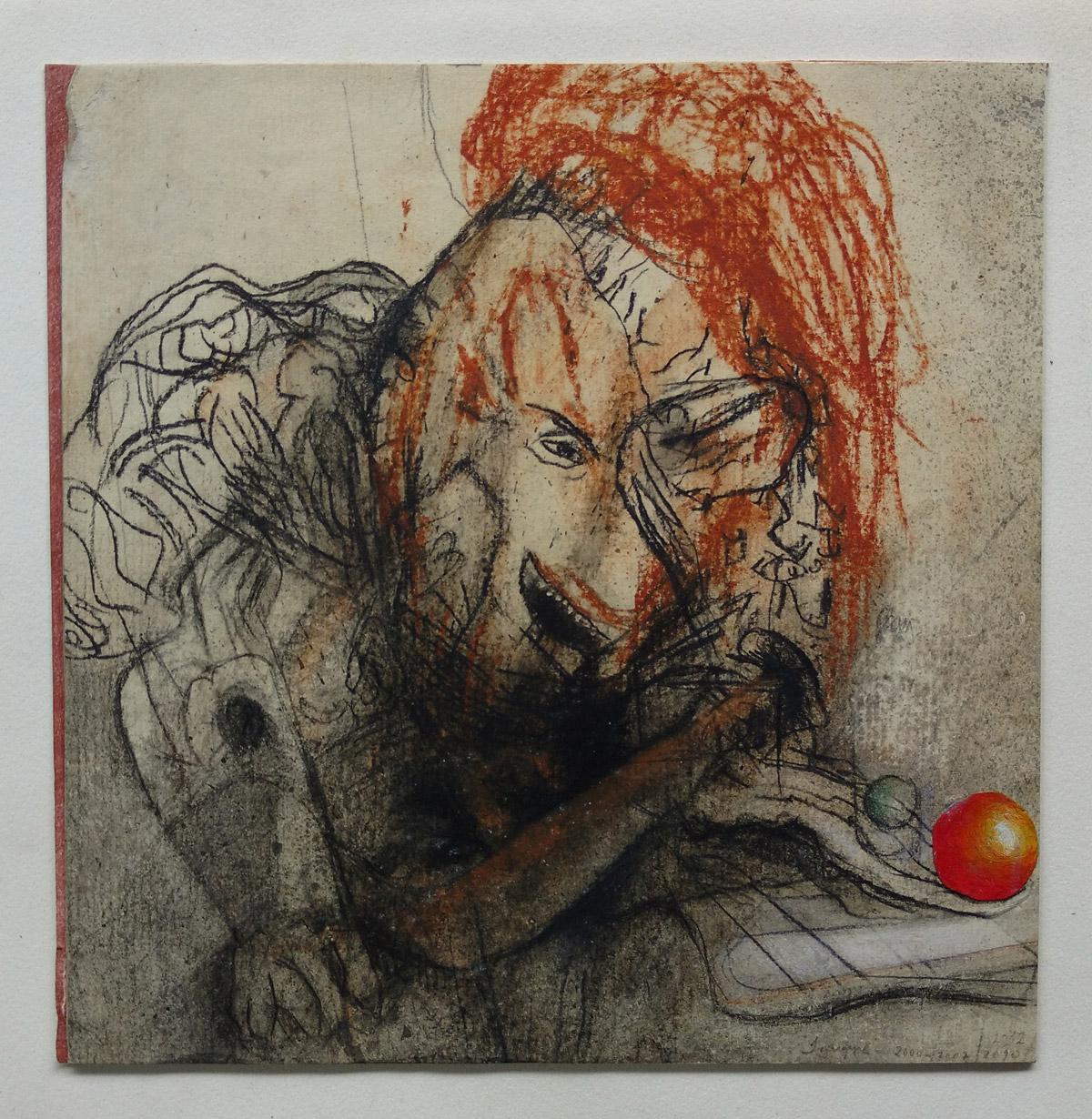 """""""s/ título""""  Mista s/ papel (carvão, terra e acrílica) - 2000-07-10-12 19X18,5 cm"""
