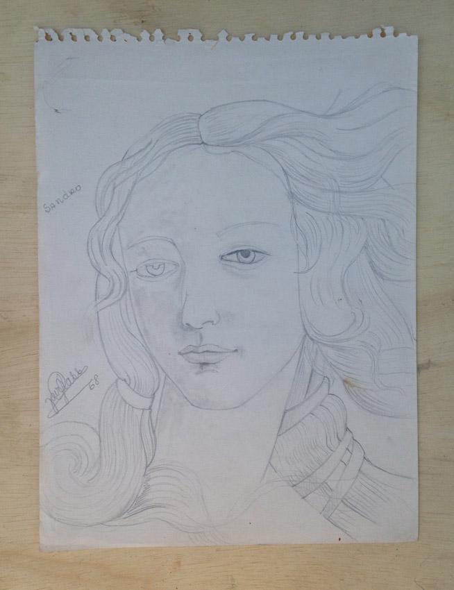 """""""O nascimento de Vênus -Sandro Butticelli (detalhe) -Cópia Grafite s/papel - 1968 29X22 cm"""