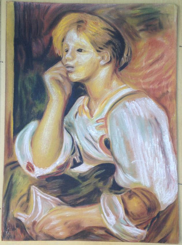 """""""Cópia de um quadro de Renoir"""" Giz pastel - 1967 49X36 cm"""