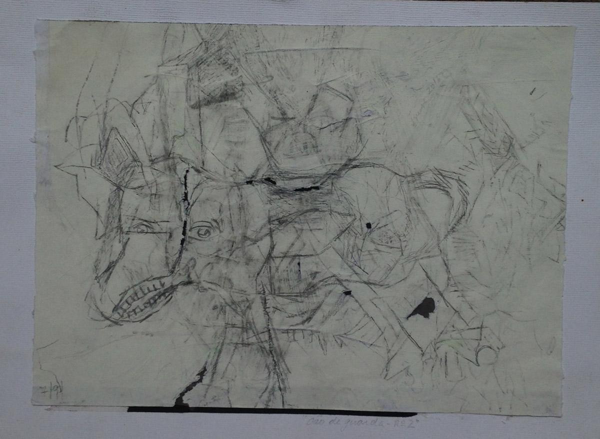 """""""Cão de guarda nº 2""""  Grafite s/papel 18X25 cm  2016"""