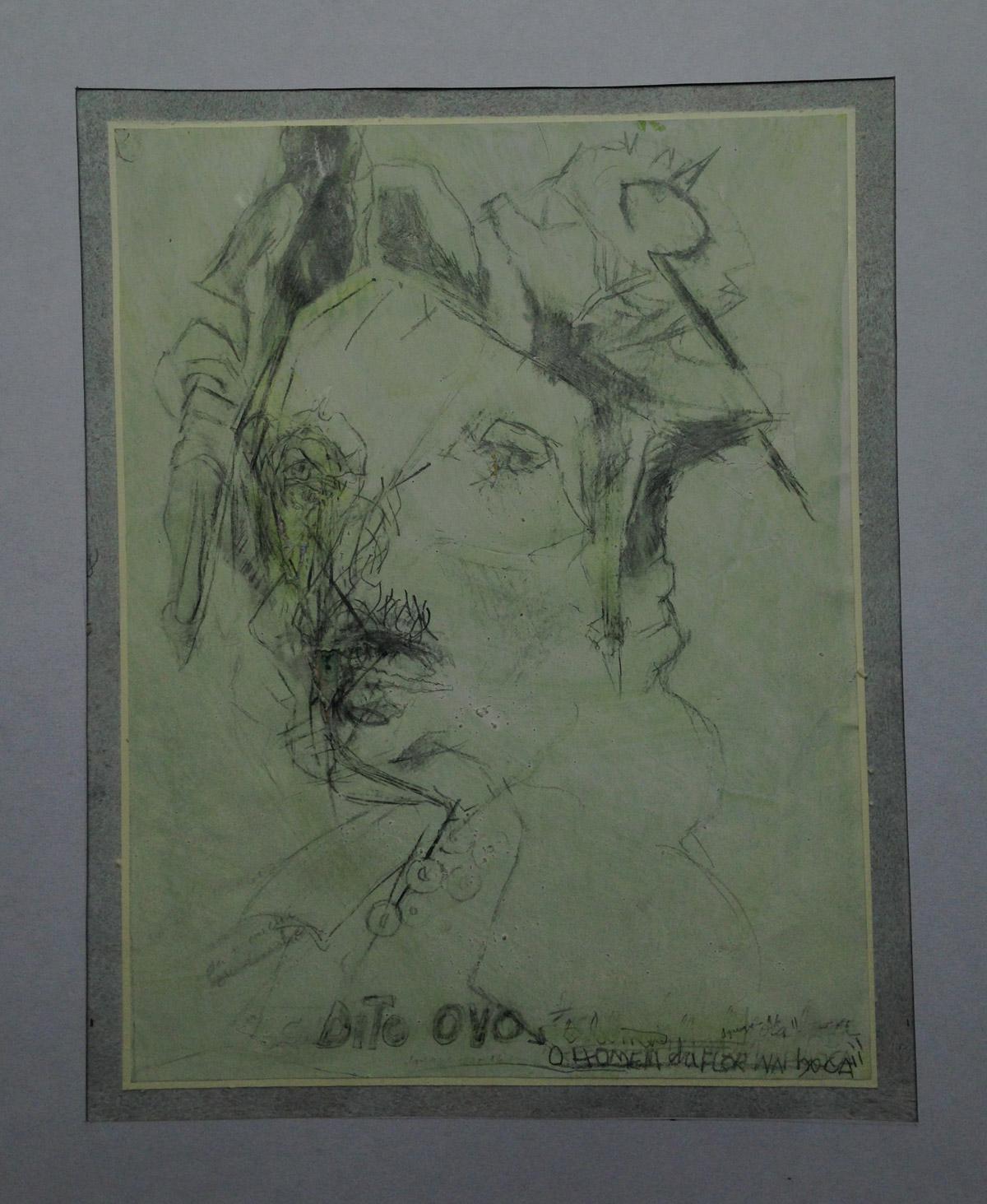 """""""Dito ovo"""" - o homem com a flor na boca. Grafite s/papel 25X20 cm  2016"""